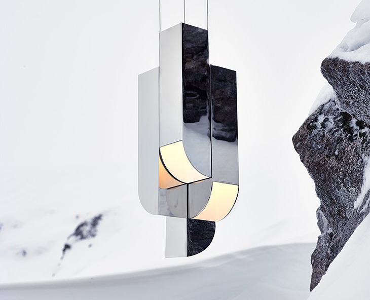roll & hill cora pendant displayed against a snowy backdrop