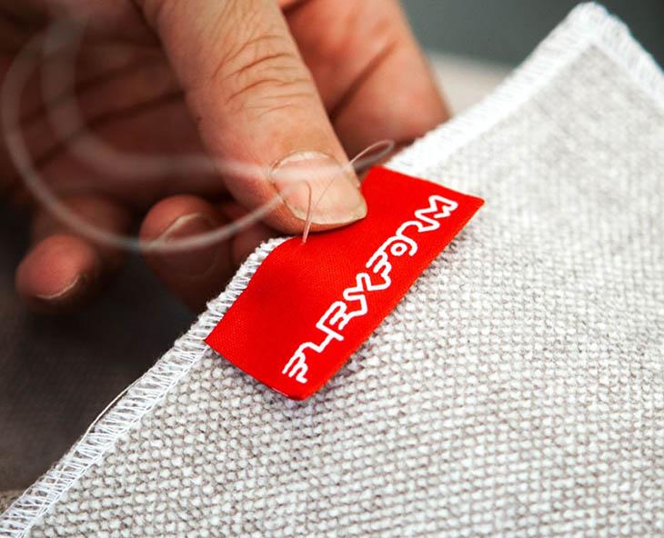 upholstery craftsman stitching flexform tag on fabric
