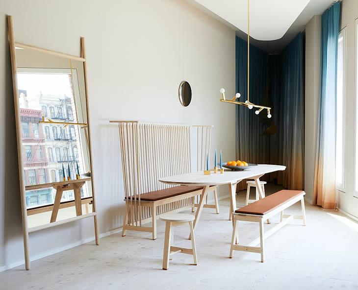 modern living room featuring a collection of de la espada furniture