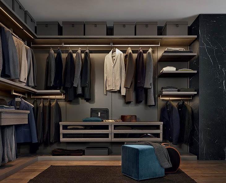walk-in closet featuring poliform ubik closet system