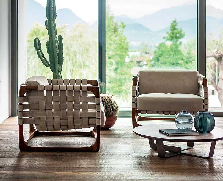 living room featuring a pair of riva 1920 bungalow armchairs