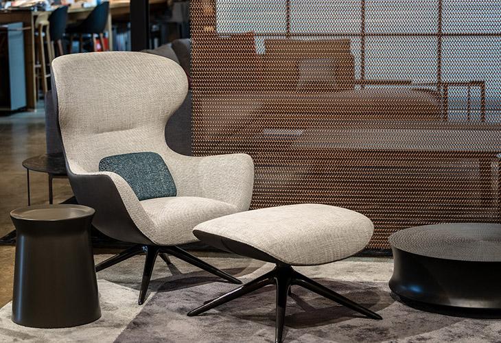 poliform mad joker armchair at studio como modern furniture showroom in denver