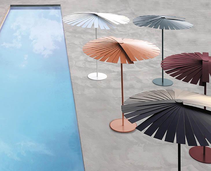 outdoor patio featuring five gandia blasco ensombra umbrellas