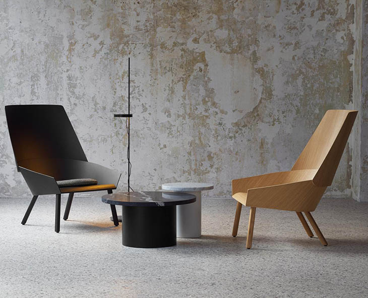 modern sitting area featuring e15 eugene armchairs