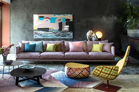 living room featuring moroso gentry sofa by patricia urquiola