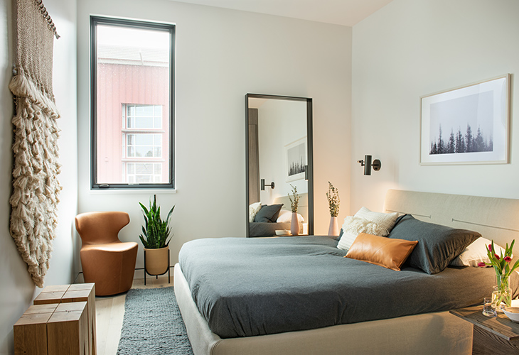 guest bedroom at the studio como showroom in bozeman montana