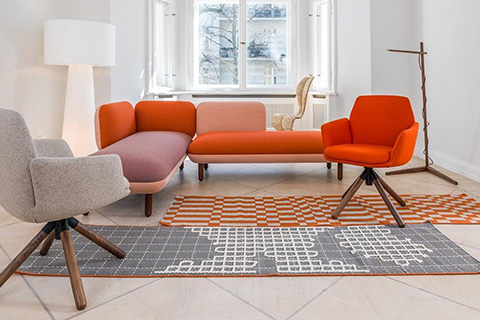 living room featuring cappellini hobo contract sofa