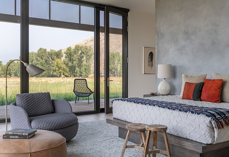 bedroom at the hale lodge residence in jackson wyoming featuring modern furniture from studio como