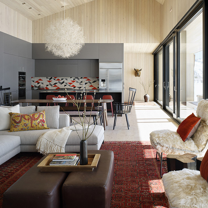 living room at the hale lodge residence in jackson wyoming featuring modern furniture from studio como