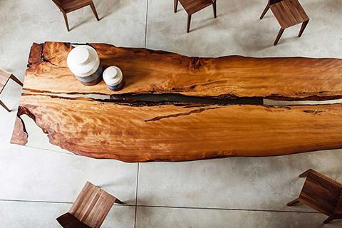bird's eye view of a riva 1920 kauri wood live edge table