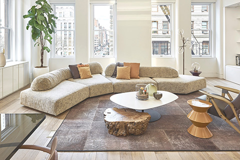 modern living room featuring a grey kymo rug