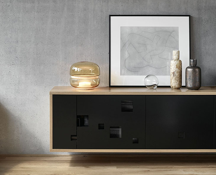 brokis macaron table lamp on a console table