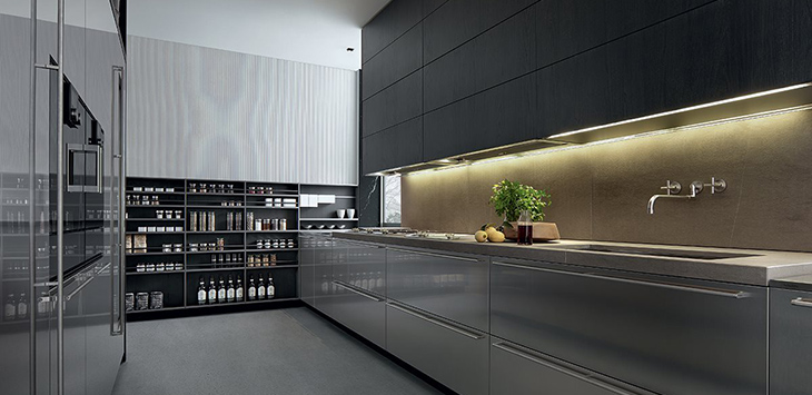 contemporary kitchen featuring poliform cabinetry