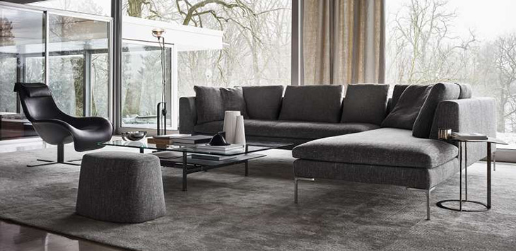 modern living room featuring cassina charles sofa