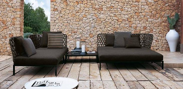 modern outdoor patio featuring b&b italia outdoor furniture