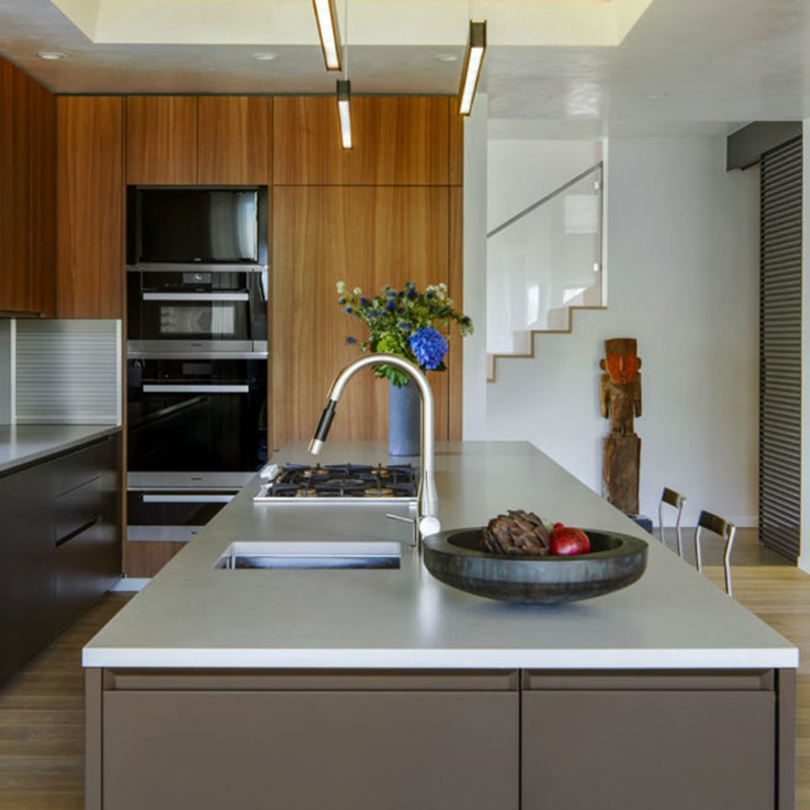 kitchen at the musser residence with interior design by akasha feeley and furniture and cabinetry from studio como modern furniture