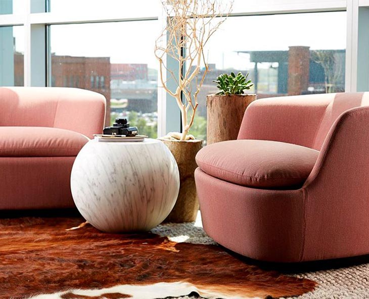 cappellini orla armchairs in soft pink