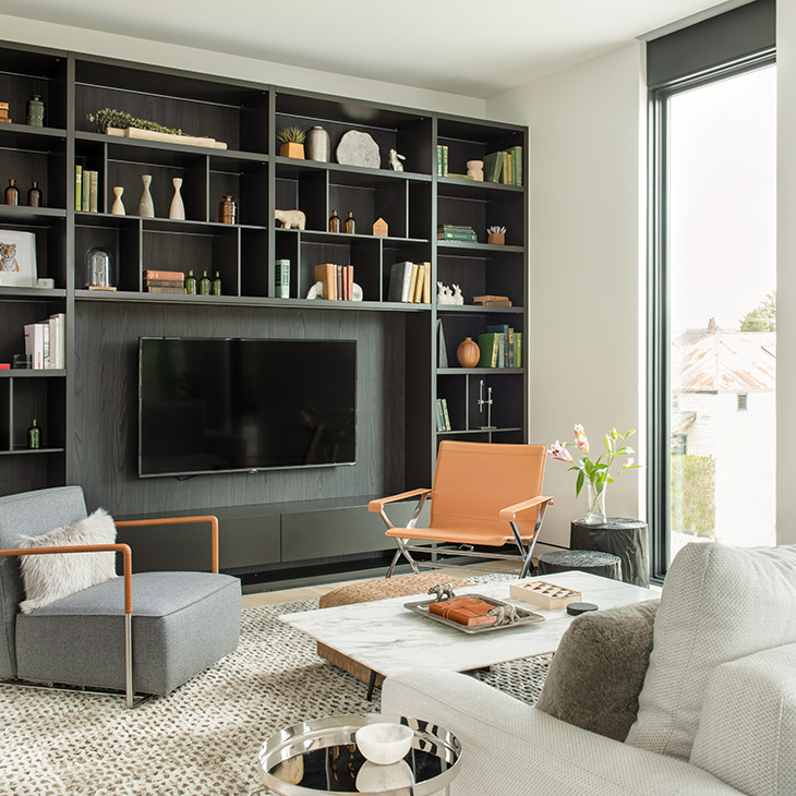 living room at the studio como showroom in bozeman montana