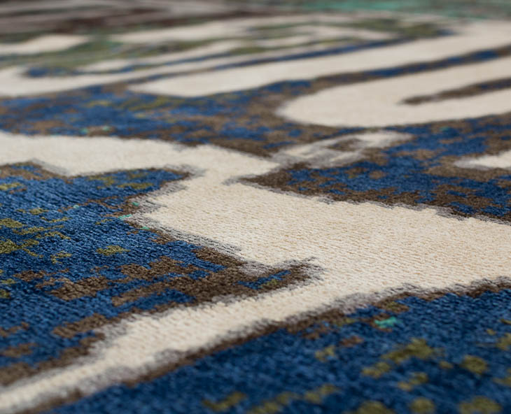 detail of a joseph carini graffiti rug in wool and silk