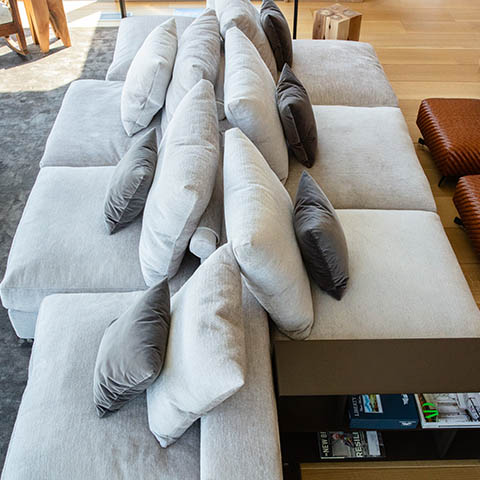 modern living room in boulder colorado featuring a flexform groundpiece sofa