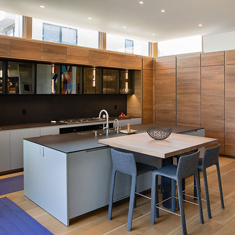 modern kitchen in boulder colorado featuring poliform cabinetry and an electric blue paola lenti runner