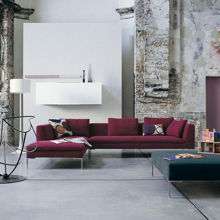 modern living room featuring b&b italia charles sectional sofa