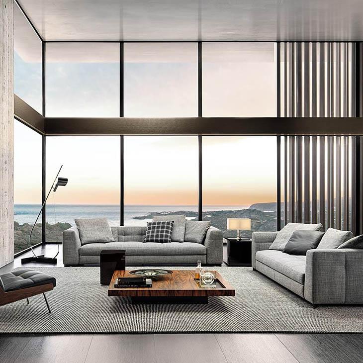 modern living room featuring two minotti blazer sofas