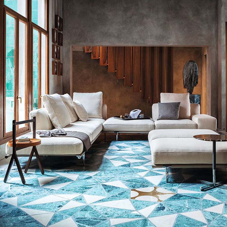 modern living room featuring poltrona frau let it be sofa