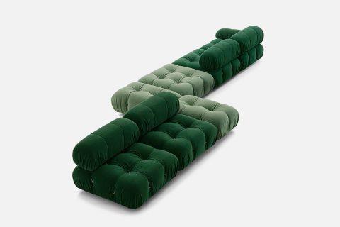 green b&b italia camaleonda sofa on a white background