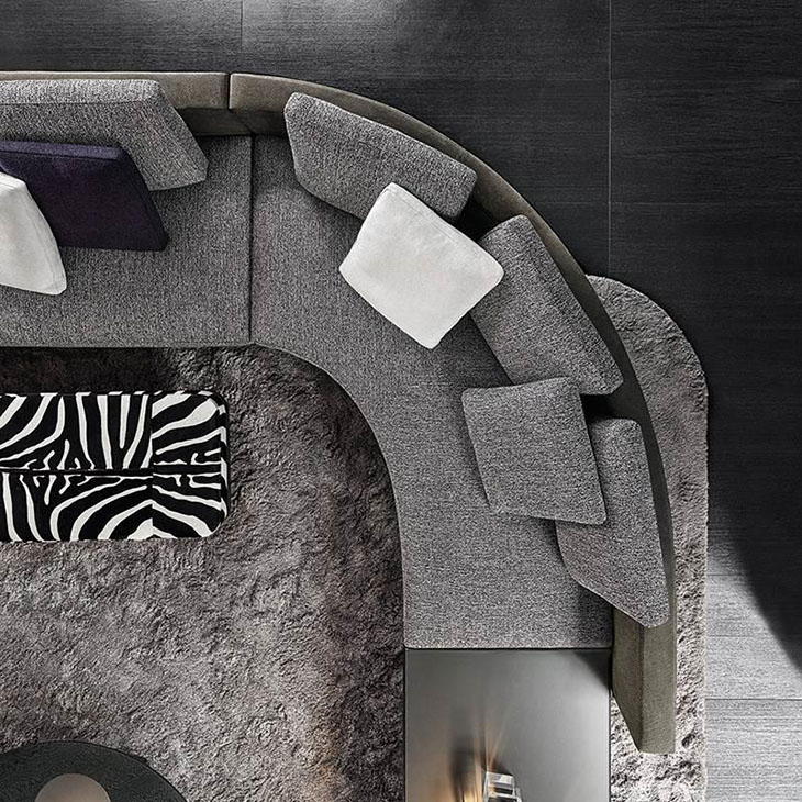 bird's eye view of the corner of a minotti daniels sofa