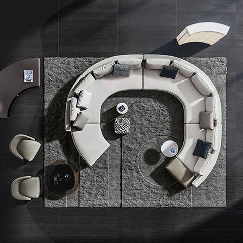 bird's eye view of a curved minotti daniels sofa