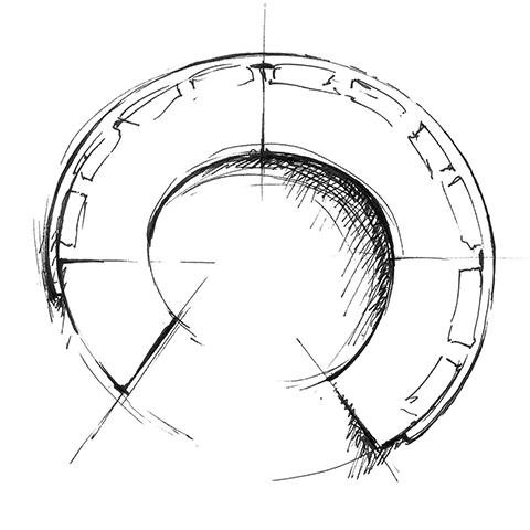 sketch of a curved minotti daniels sofa