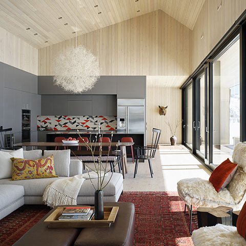 modern open concept living in jackson wyoming featuring furniture from studio como