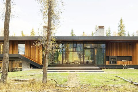 exterior of a modern house in jackson wyoming designed by clb architects