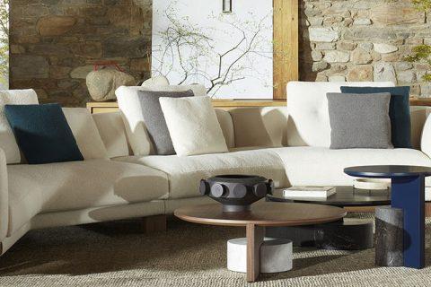 modern living room featuring a cassina sengu sofa