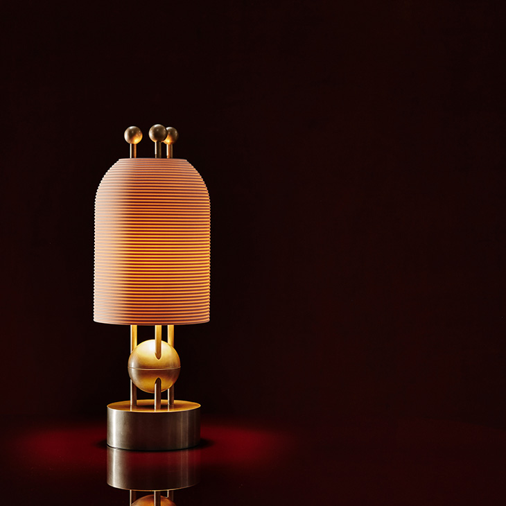 apparatus lantern table lamp glowing in a dark red room