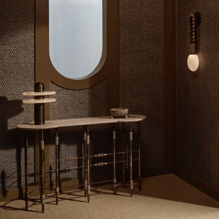 console table featuring apparatus median table light