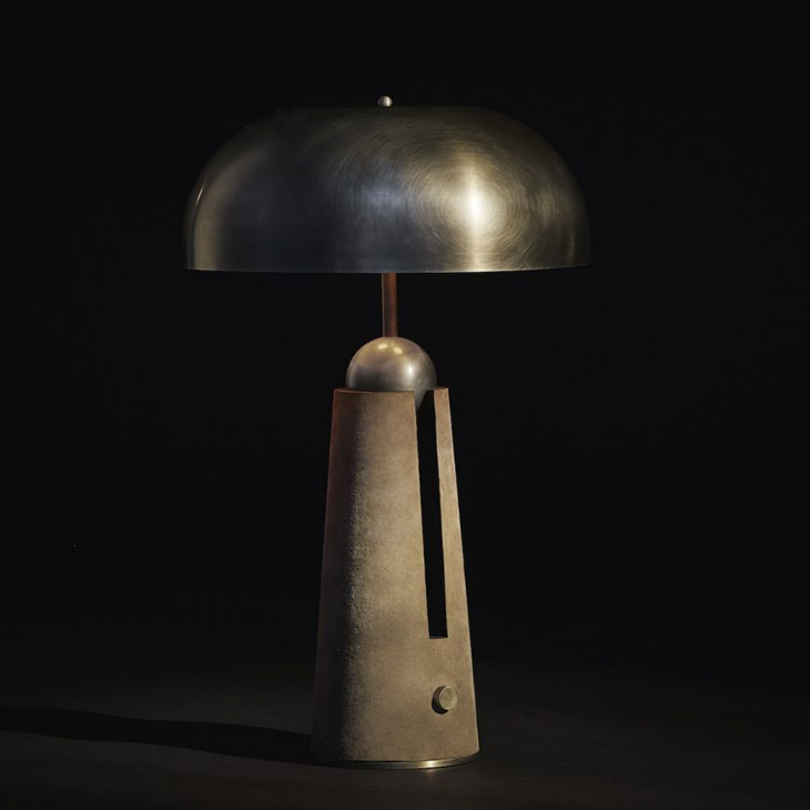 apparatus metronome table lamp on a black background