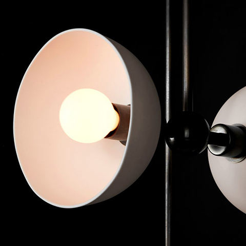 close up of shade on an apparatus trapeze mobile pendant light