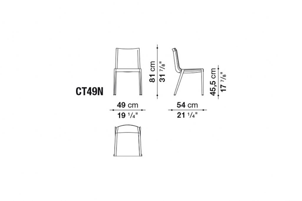 line drawing and dimensions for b&b italia charlotte chair model ct49n
