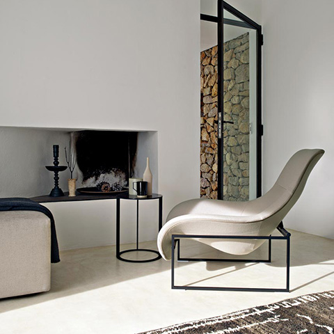 modern living room featuring b&b italia mart recliner and frank side table