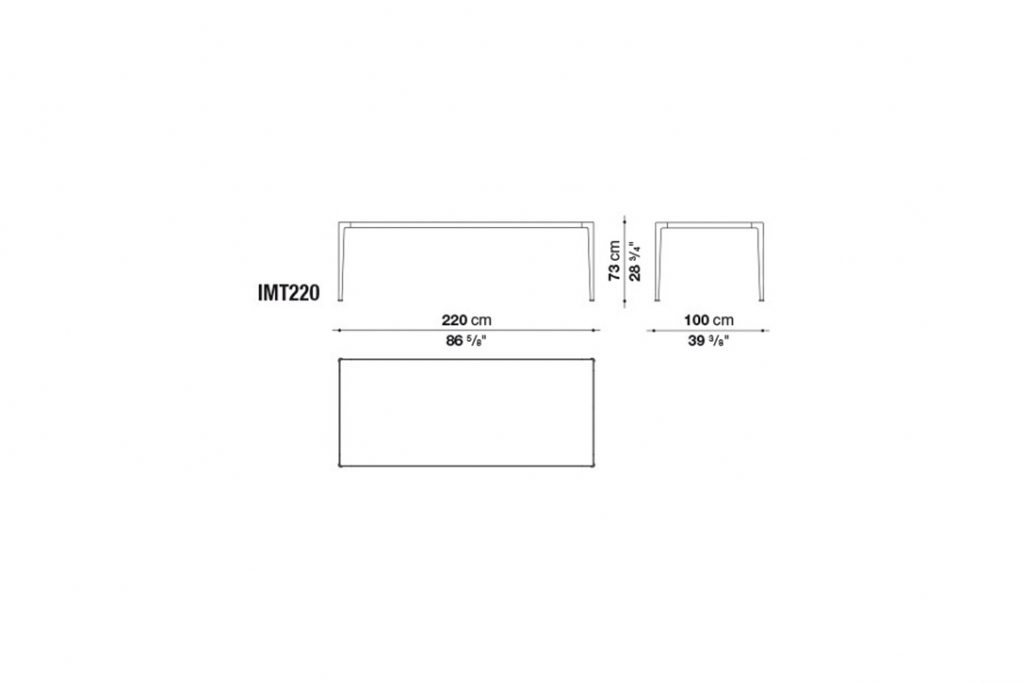 line drawing and dimensions for b&b italia mirto table model imt220