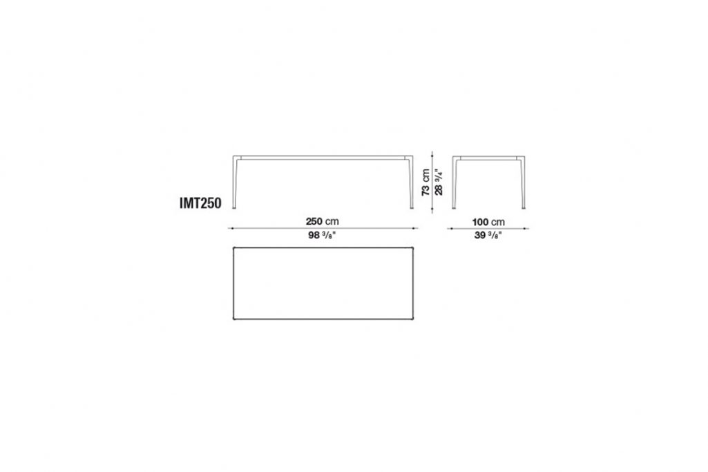 line drawing and dimensions for b&b italia mirto table model imt250