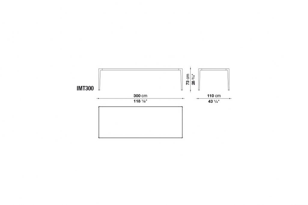 line drawing and dimensions for b&b italia mirto table model imt300