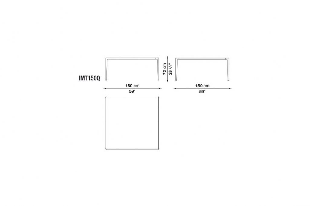 line drawing and dimensions for b&b italia mirto table model imt150q