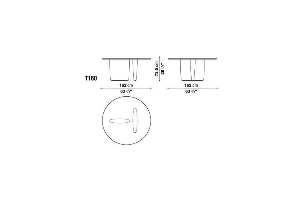line drawing and dimensions for b&b italia tobi-ishi table model t160
