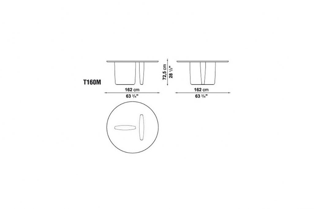 line drawing and dimensions for b&b italia tobi-ishi table model t160m