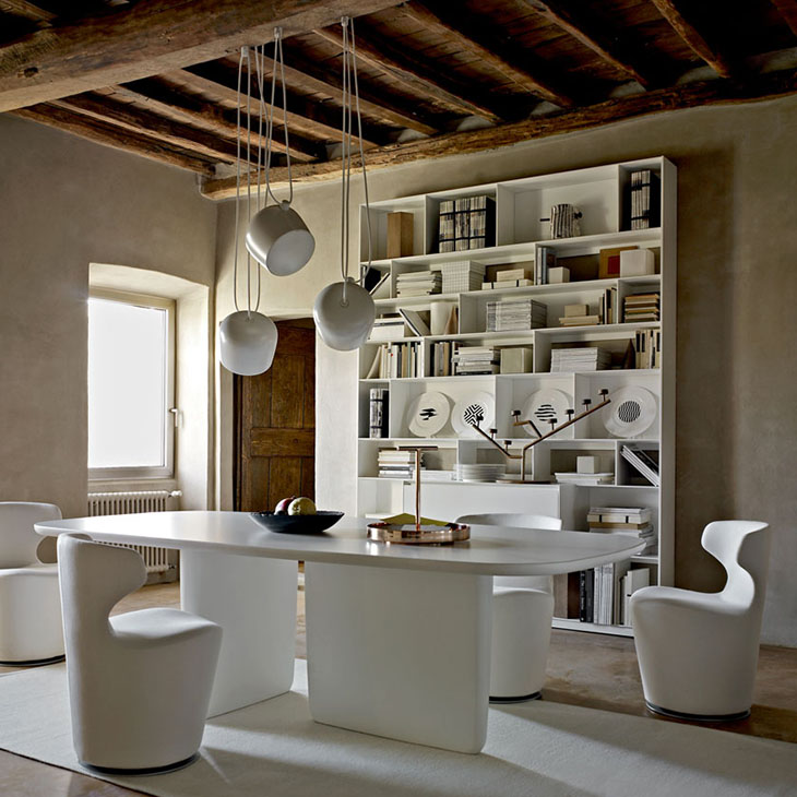 white oval b&b italia tobi-ishi table in a historic european home
