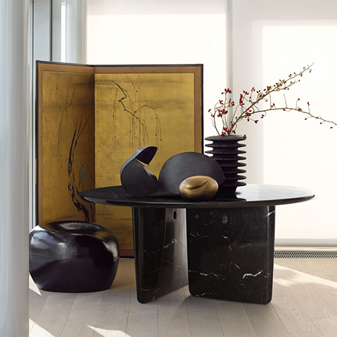 b&b italia tobi-ishi table in nero marquina marble