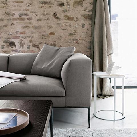 modern living room featuring b&b italia frank side table